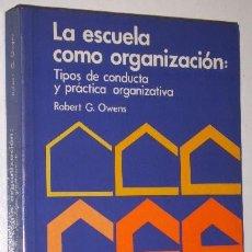 Libros de segunda mano: LA ESCUELA COMO ORGANIZACIÓN POR ROBERT G. OWENS DE ED. SANTILLANA EN MADRID 1989. Lote 36727813