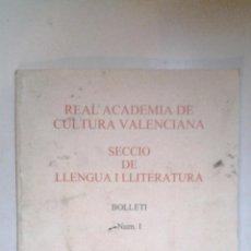 Libros de segunda mano: REAL ACADEMIA DE CULTURA VALENCIANA, SECCIO DE LLITERATURA, Nº 1, 2001. Lote 41201822