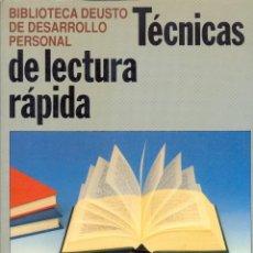 Libros de segunda mano: TÉCNICAS DE LECTURA RÁPIDA - BIBLIOTECA DEUSTO.. Lote 41586677