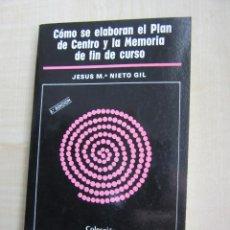 Libros de segunda mano: COMO SE ELABORAN EL PLAN DE CENTRO Y LA MEMORIA DE FIN DE CURSO JESÚS Mª NIETO GIL. Lote 48415566