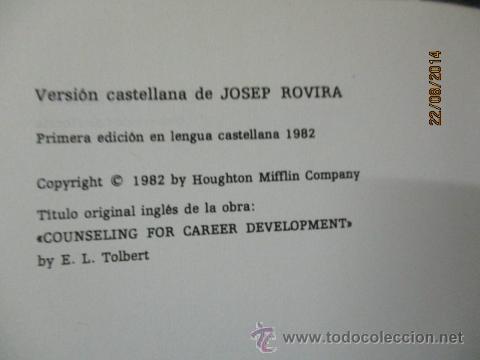 Libros de segunda mano: TÉCNICAS DE ASESORAMIENTO EN ORIENTACIÓN PROFESIONAL. TOLBERT - 1982 - Foto 2 - 50987854