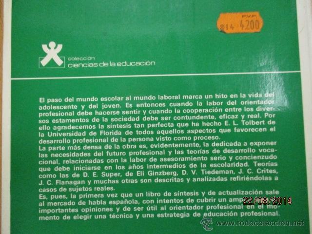 Libros de segunda mano: TÉCNICAS DE ASESORAMIENTO EN ORIENTACIÓN PROFESIONAL. TOLBERT - 1982 - Foto 5 - 50987854