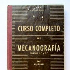 Libros de segunda mano: CURSO COMPLETO DE MECANOGRAFÍA. CURSOS 1º Y 2º. Lote 70367995