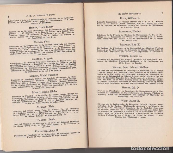 Libros de segunda mano: J. E. W. WALLIN - EL NIÑO DEFICIENTE FISICO, MENTAL Y EMOCIONAL - JAIME BERNSTEIN - PAIDÓS 79 - Foto 4 - 79583241