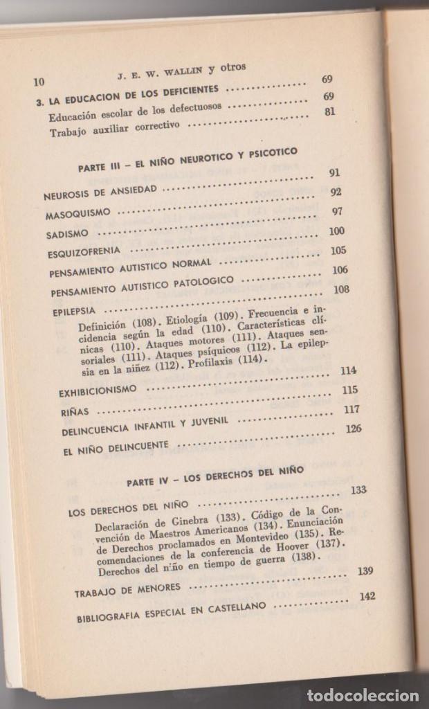 Libros de segunda mano: J. E. W. WALLIN - EL NIÑO DEFICIENTE FISICO, MENTAL Y EMOCIONAL - JAIME BERNSTEIN - PAIDÓS 79 - Foto 6 - 79583241