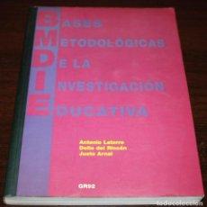 Libros de segunda mano: BASES METODOLÓGICAS DE LA INVESTIGACIÓN EDUCATIVA - VV.AA. - GR92 - 1996. Lote 154283565