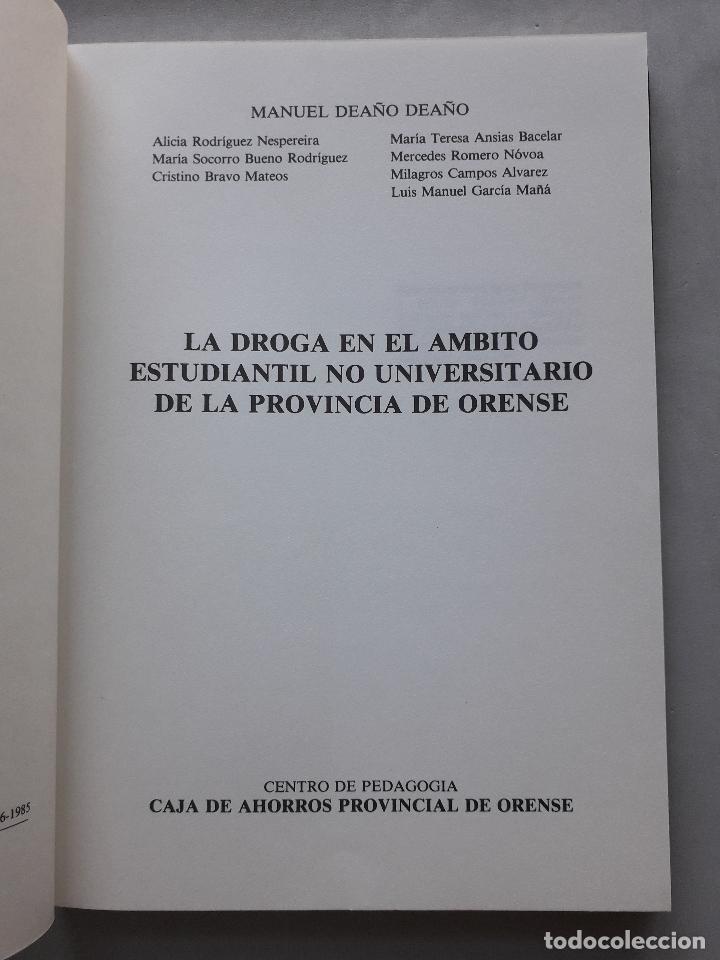 Libros de segunda mano: La Droga en el ámbito estudiantil no universitario de la provincia de Orense. - Foto 2 - 121223591