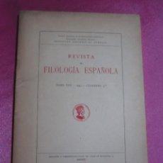 Libros de segunda mano: REVISTA DE FILOLOGIA ESPAÑOLA.- TOMO XXV, CUADERNOS 3 MENENDEZ PIDAL 1941. Lote 130885888