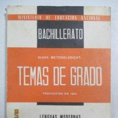 Livres d'occasion: TEMAS DE EXÁMENES DE GRADO SUPERIOR DE BACHILLERATO. LENGUAS MODERNAS. Nº 444. 1964. Lote 132545886
