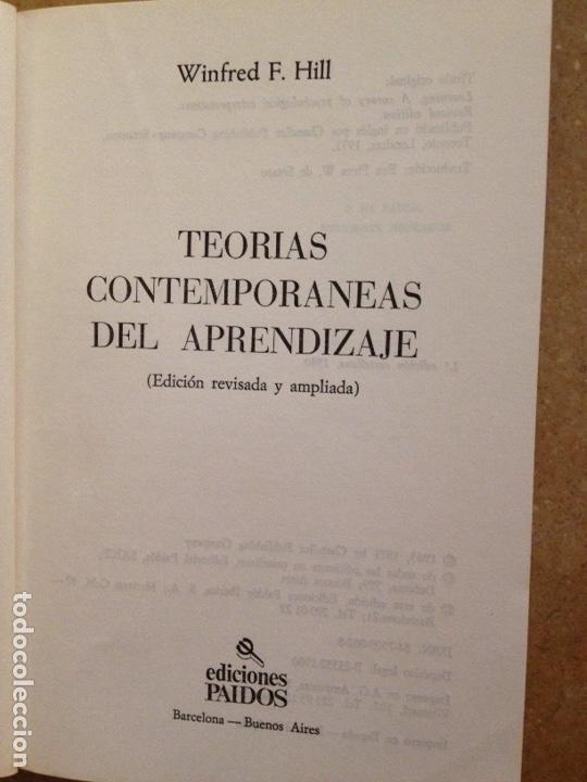 Libros de segunda mano: Teorías contemporáneas del aprendizaje (Winfred F. Hill) - Foto 2 - 251518220