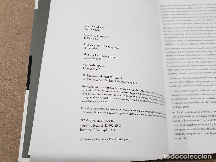 Libros de segunda mano: DUDAS Y DIFICULTADES DE LA LENGUA ESPAÑOLA.....LAROUSSE... - Foto 3 - 144558838