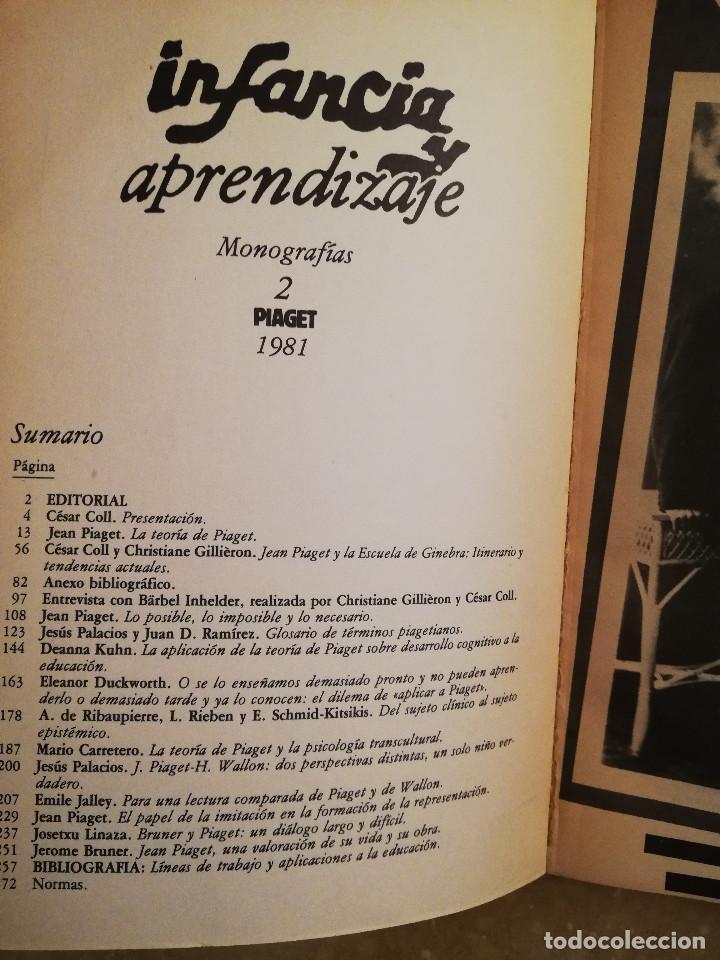 Libros de segunda mano: PIAGET. MONOGRAFÍA DE INFANCIA Y APRENDIZAJE - Foto 3 - 145445098