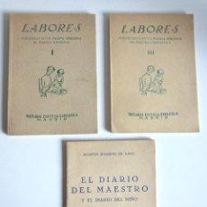 Libros de segunda mano: LABORES VOLÚMENES I Y III MÁS EL DIARIO DEL MAESTRO DIARIO DEL NIÑO EDITORIAL ESCUELA ESPAÑOLA. Lote 160217262