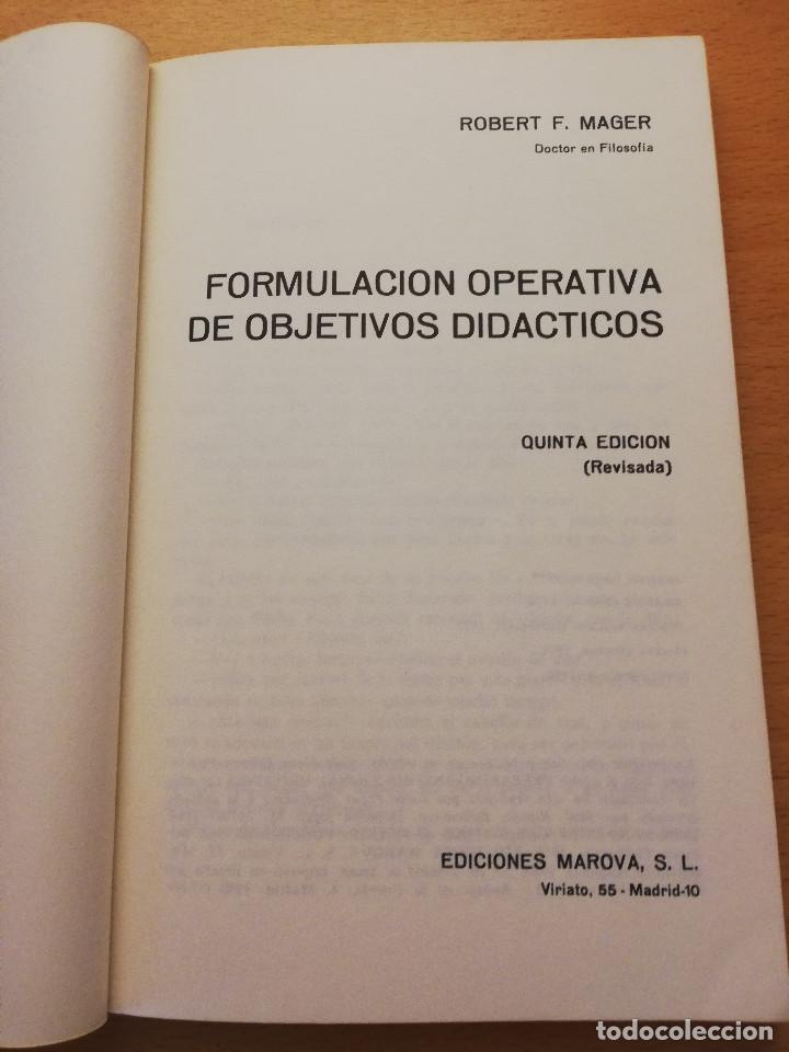 Libros de segunda mano: FORMULACIÓN OPERATIVA DE OBJETIVOS DIDÁCTICOS (ROBERT F. MAGER) MAROVA - Foto 2 - 161929894
