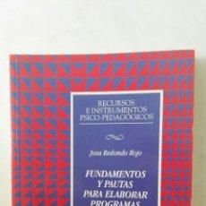 Libros de segunda mano: FUNDAMENTOS Y PAUTAS PARA ELABORAR PROGRAMAS DE GARANTIA SOCIAL. Lote 166971634