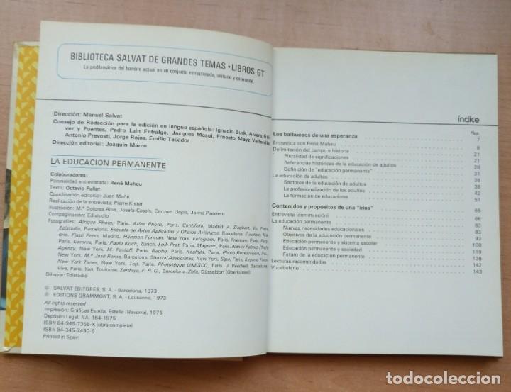 Libros de segunda mano: LLA 27 La Educación Permanente - Biblioteca Salvat de grandes temas - Nº 72 - Foto 3 - 168484224