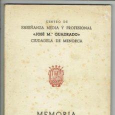 Libros de segunda mano: MEMORIA. CENTRO DE ENSEÑANZA MEDIA Y PROFESIONAL JOSÉ Mª QUADRADO DE CIUDADELA. 1959/61(MENORCA.1.8). Lote 170429120