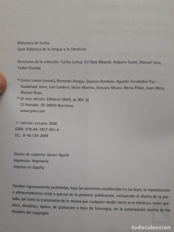 Libros de segunda mano: TEXTOS LITERARIOS Y CONTEXTOS ESCOLARES. LA ESCUELA EN LA LITERATURA. BIBLIOTECA DE TEXTOS GRAO,2008 - Foto 2 - 172016050