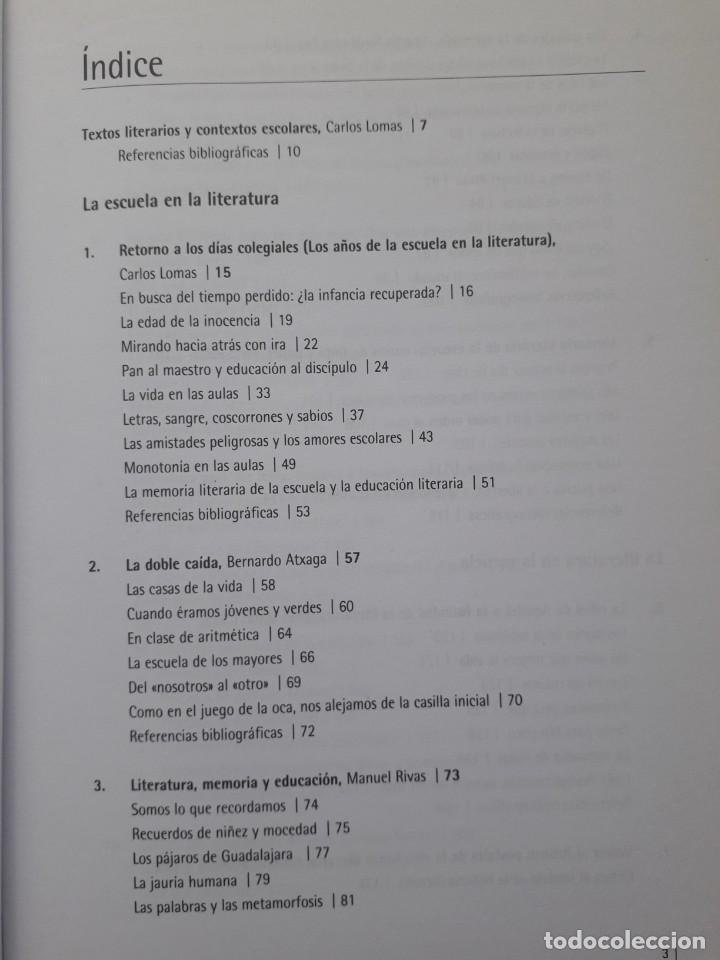 Libros de segunda mano: TEXTOS LITERARIOS Y CONTEXTOS ESCOLARES. LA ESCUELA EN LA LITERATURA. BIBLIOTECA DE TEXTOS GRAO,2008 - Foto 3 - 172016050