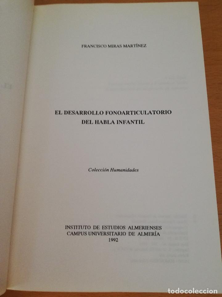 Libros de segunda mano: EL DESARROLLO FONOARTICULATORIO DEL HABLA INFANTIL (FRANCISCO MIRAS MARTÍNEZ) - Foto 2 - 174238323
