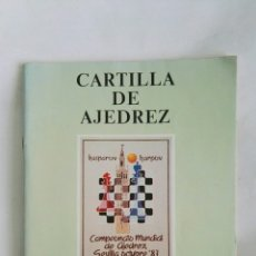 Libros de segunda mano: CARTILLA DE AJEDREZ CAMPEONATO MUNDIAL 1987. Lote 179000465