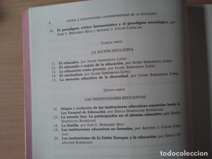 Libros de segunda mano: TEORIAS E INSTITUCIONES CONTEMPORANEAS - ANTONI J. COLOM - JOSÉ L. BERNABEU - EMILIA DOMÍNGEZ - Foto 5 - 179079703