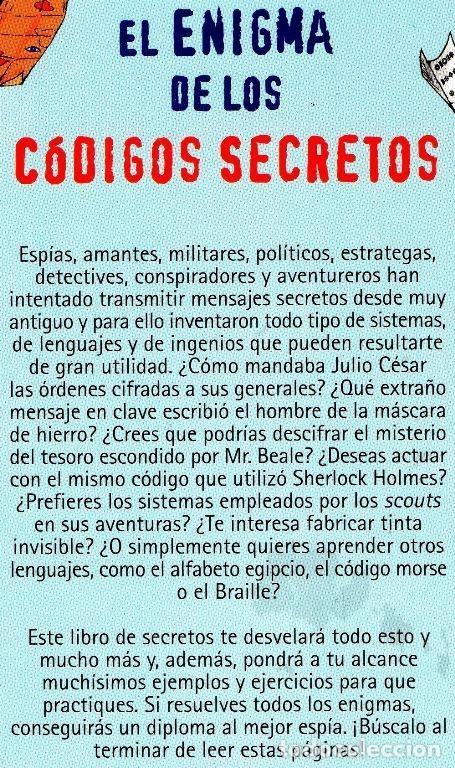 Libros de segunda mano: EL ENIGMA DE LOS CODIGOS SECRETOS. DETECTIVES. ESPIAS. AVENTUREROS. INCLUYE EJERCICIOS Y SOLUCIONES. - Foto 6 - 191289437