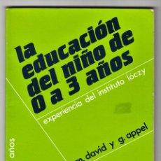 Libros de segunda mano: LA EDUCACIÓN DEL NIÑO DE 0 A 3 AÑOS EXPERIENCIA DEL INSTITUTO LÓCZY M. DAVID Y G. APPEL NARCEA 1986. Lote 197976701