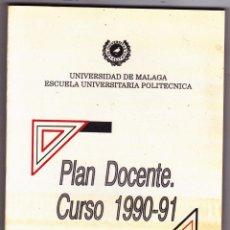 Libros de segunda mano: UNIVERSIDAD DE MALAGA PLAN DOCENTE 1990-91. Lote 198467580