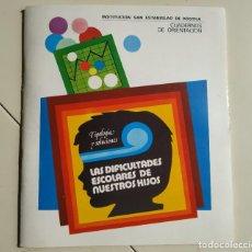 Libros de segunda mano: LAS DIFICULTADES ESCOLARES DE NUESTROS HIJOS: TIPOLOGÍA Y SOLUCIONES.INSTIT.SAN ESTANISLAO DE KOSTKA. Lote 201110427