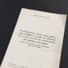 Libros de segunda mano: RAFAEL MONROY CASAS - EL PROCEDIMIENTO CLOZE COMO TÉCNICA. Lote 206452963