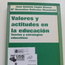 Libros de segunda mano: VALORES Y ACTITUDES EN LA EDUCACIÓN (JOSÉ ANTONIO LLOPIS BLASCO / Mª REMEDIOS BALLESTER MANCHEÑO). Lote 214831141