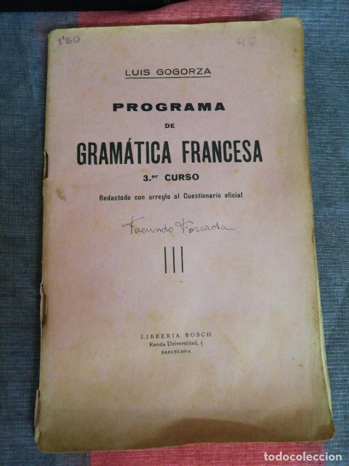PROGRAMA DE GRAMÁTICA FRANCESA 3 CURSO LIBRERÍA BOSCH (Libros de Segunda Mano - Ciencias, Manuales y Oficios - Pedagogía)