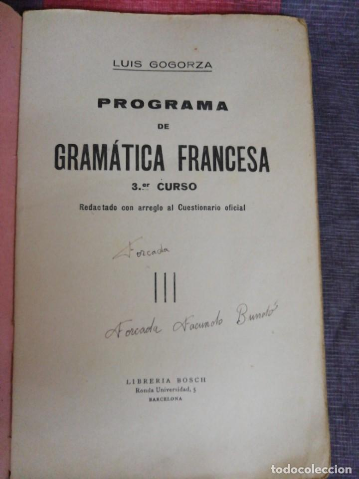 Libros de segunda mano: Programa de Gramática Francesa 3 curso Librería Bosch - Foto 2 - 221650607