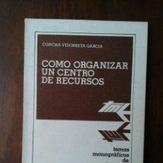 Libros de segunda mano: COMO ORGANIZAR UN CENTRO DE RECURSOS. Lote 248492905