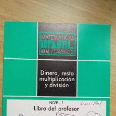 "Libros de segunda mano: MATEMÁTICAS INFANTIL. NIVEL 1. LIBRO DEL PROFESOR ""DINERO"". AKAL / CAMBRIDGE - VVAA. Lote 269111573"