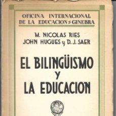 Libros de segunda mano: CONFERENCIA INTERNACIONAL 1928. PROBLEMAS PEDAGÓGICOS Y PSICOLÓGICOS DEL BILINGÜISMO.. Lote 276374023