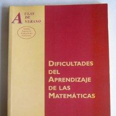 Libros de segunda mano: DIFICULTADES DEL APRENDIZAJE DE LAS MATEMATICAS - VARIOS AUTORES - EDIT. MINISTERIO DE EDUCACION. Lote 277678728