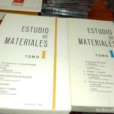 Libros de segunda mano: ESTUDIO DE MATERIALES TOMO I TOMO II. MADRID 1983. Lote 288652453