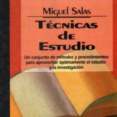 Libros de segunda mano: TÉNICAS DE ESTUDIO. SALAS, MIGUEL. A-PED-812. Lote 296860728