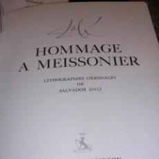 Libros de segunda mano: SALVADOR DALI - MANIFESTE EN HOMMAGE MEISSONIER 4 LITHOGRAPHIES ORIGINALES DE SALVADOR DALI ,HOTEL. Lote 41135029