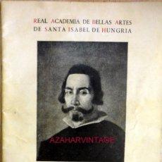 Libros de segunda mano: SEVILLA,1960, CATALOGO EXPOSICION HOMENAJE A VELAZQUEZ EN EL III CENTENARIO DE SU MUERTE,32 PAGS. Lote 56341935