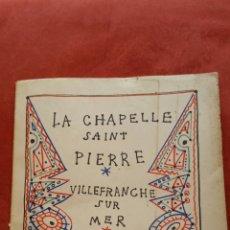 Libros de segunda mano: JEAN COCTEAU LA CHAPELLE SAINT PIERRE EDITIONS DU ROCHE MÓNACO 1957. Lote 56614948