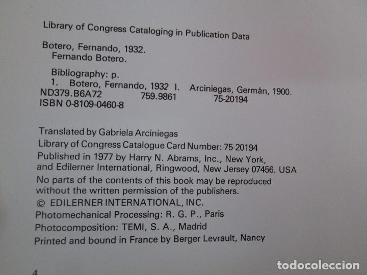 Libros de segunda mano: FERNANDO BOTERO. GERMAN ARCINIEGAS. EDITORIAL EDILERNER. 1977. VER FOTOGRAFIAS ADJUNTAS - Foto 9 - 99174707