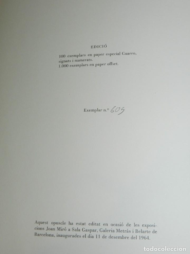 Libros de segunda mano: (M) JOAN MIRO OBRA INEDITA RECIENTE , SALA GASPAR 1964 , MIRO BARCELONA 1964 , JOAN BROSSA - Foto 9 - 107021515