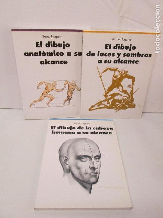 BURNE HOGARTH. EL DIBUJO DE LUCES Y SOMBRAS A SU ALCANCE. CABEZA HUMANA. ANATOMICO. 3 LIBROS (Libros de Segunda Mano - Bellas artes, ocio y coleccionismo - Pintura)
