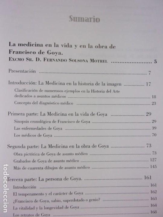 Libros de segunda mano: LA MEDICINA EN LA VIDA Y EN LA OBRA DE FRANCISCO DE GOYA / 2010 - Foto 3 - 150273194