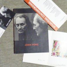 Libros de segunda mano: CATÁLOGO DE JOAN PONÇ.DAU AL SET-GALERÍA SALVADOR RIERA.. Lote 153509046