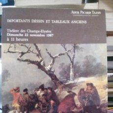 Libros de segunda mano: IMPORTANTS DESSIN ET TABLEAUX ANCIENS, THÉÂTRE DES CHAMPS ELYÉES, DIMANCHE 22 NOVEMBRE 1987. Lote 171016050