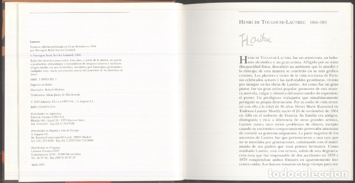 Libros de segunda mano: LA VIDA Y OBRAS DE LAUTREC.- Nathaniel Harris - 1997 - Foto 3 - 173567119